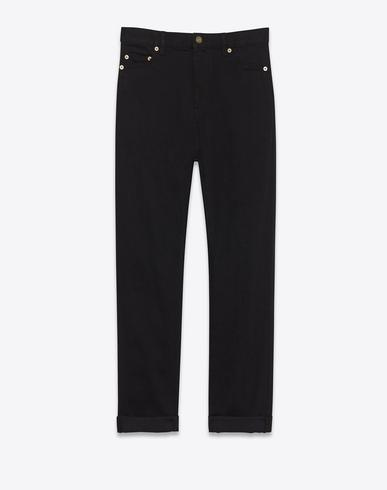 4df8777d1ae Saint Laurent Original Low Waisted Skinny Jean In Black Coated Stretch Denim