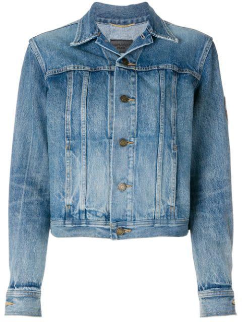 604020db3d Saint Laurent Original Ysl Military Patch Jean Jacket In Washed Blue Shadow  Denim In 4079 Medium