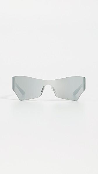 Balenciaga Mono Futuristic Sunglasses In Solid Grey With Mirrored Lens