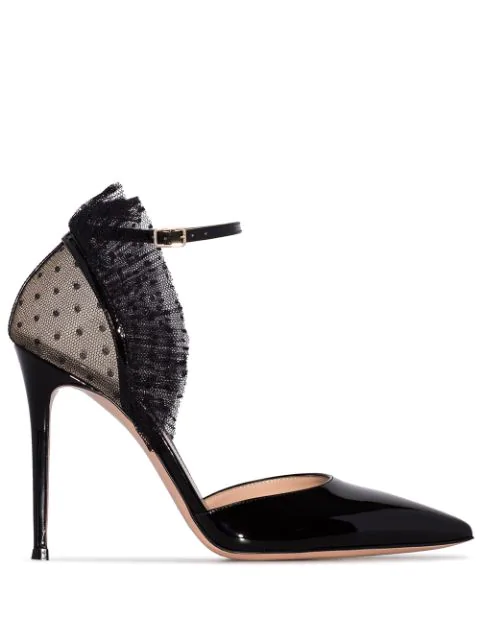 Gianvito Rossi 105 Ruffled Point D'esprit Tulle And Patent-leather Pumps In Black