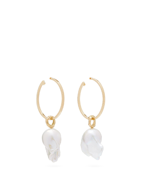 Nadia Shelbaya 216 Perle Savage Pearl & Gold Hoop Earrings