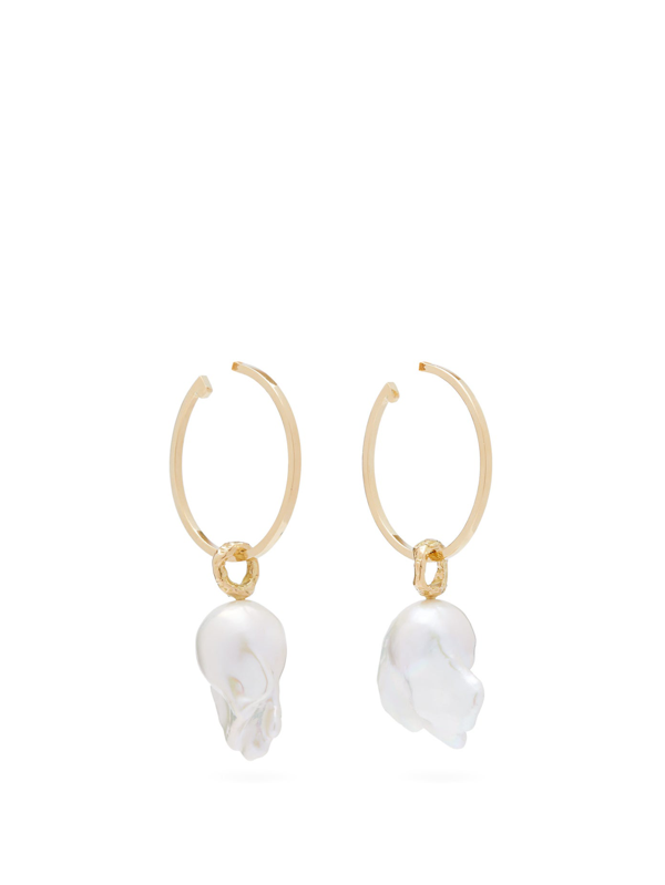 Nadia Shelbaya 216 Perle Savage Pearl & Gold Hoop Earrings