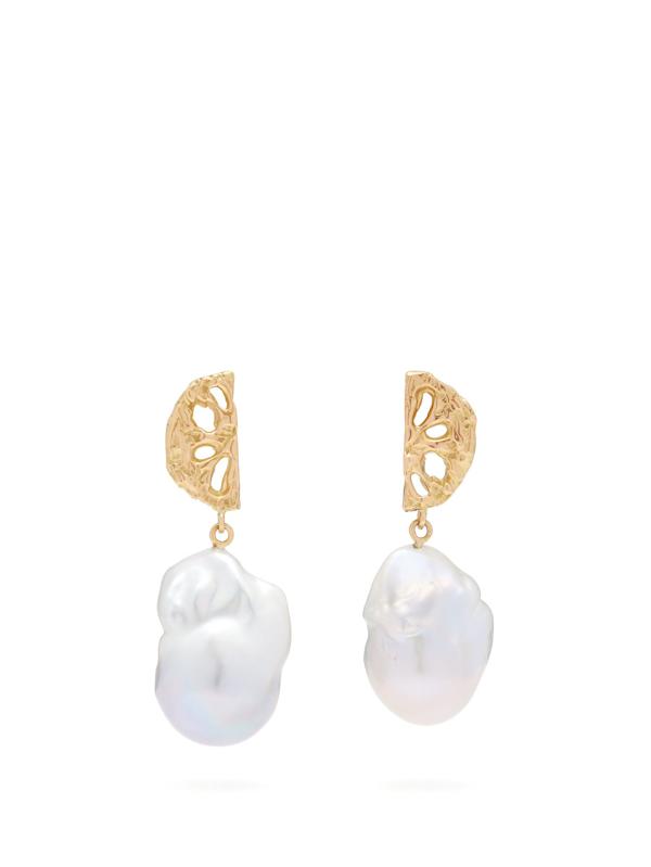 Nadia Shelbaya 200 Fan Pearl & Gold Earrings