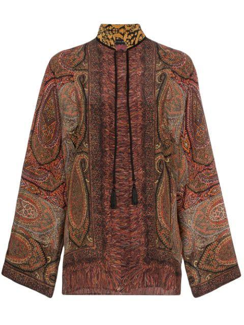 Etro Paisley Print Silk Blouse In 150 Multicolor