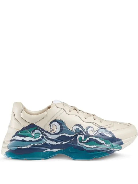 Gucci Men's Rhyton Leather Sneaker With Wave In White