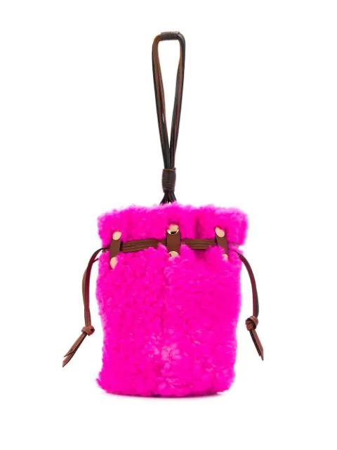 Marni Bindle Shearling Bucket Bag In Pink