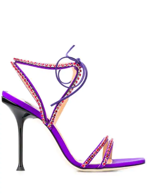 Sergio Rossi Crystal Embellished Sandals In 5302 Iris