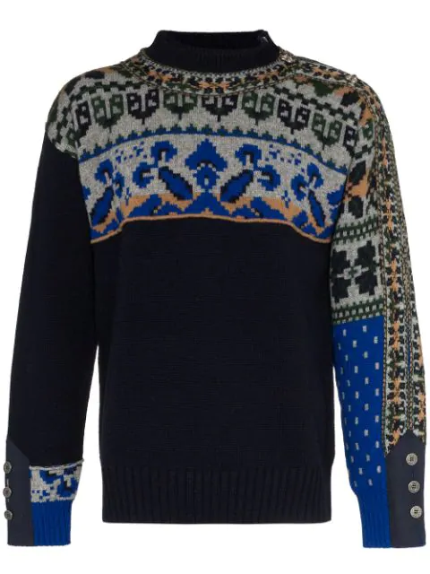 Sacai Colourblock Geometric Floral Intarsia Panel Sweater In Blue