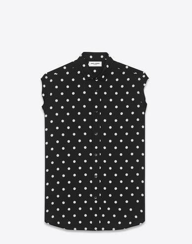 f76b5964a6 Dylan Collar Sleeveless Shirt In Black And White Polka Dot Printed Viscose