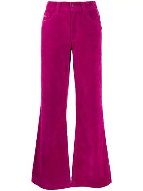 Marc Jacobs High-Rise Flared Velveteen Jeans In 674 Fuchsia
