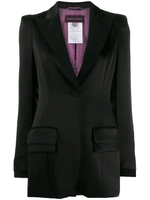 Talbot Runhof Single-breasted Blazer In Black