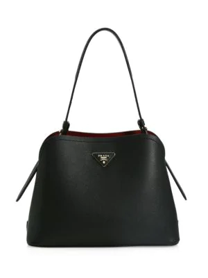 Prada Women's Small Matinee Leather Top Handle Bag In Nero Cerise