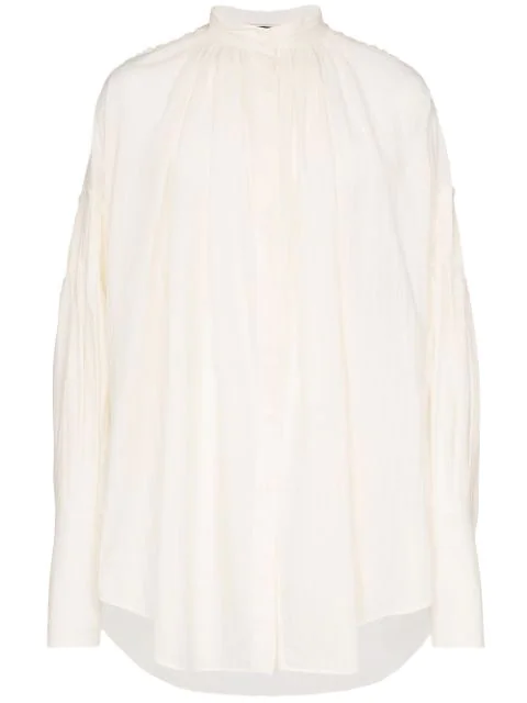 Ann Demeulemeester Gathered Striped Shirt In White