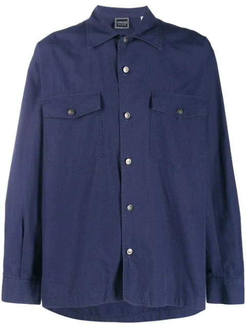 Pre-owned Versace 1980's Button-down Shirt In Blue
