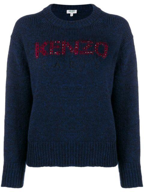 Kenzo Embellished Logo Sweater In 76 Navy Blue