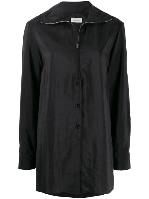 Lemaire Zipped Shirt In 999 Black