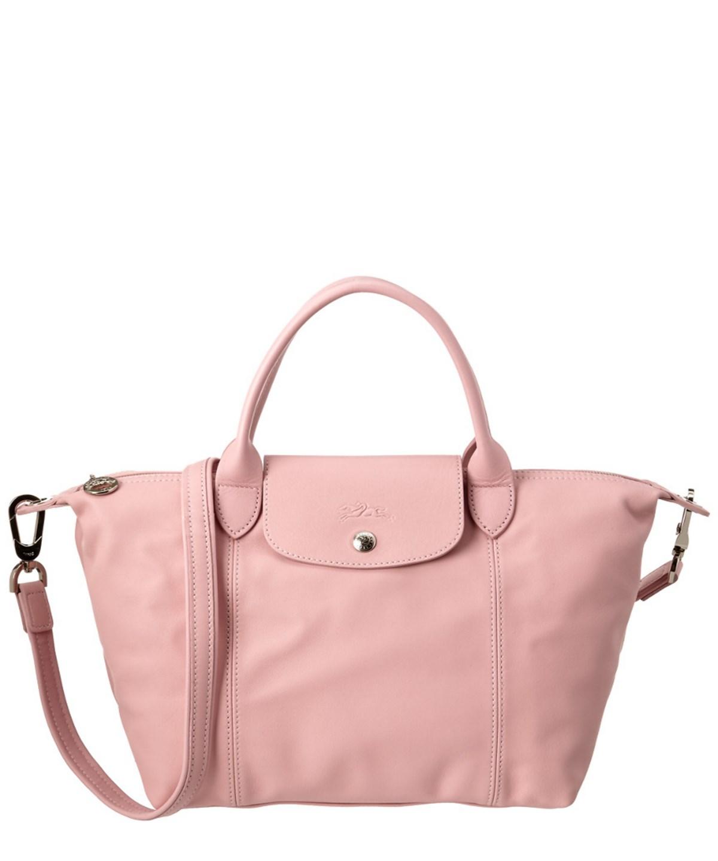 Longchamp Le Pliage Cuir Leather Handbag' In Light Pink