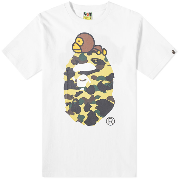 A Bathing Ape 1st Camo Milo On Big Ape Tee In White