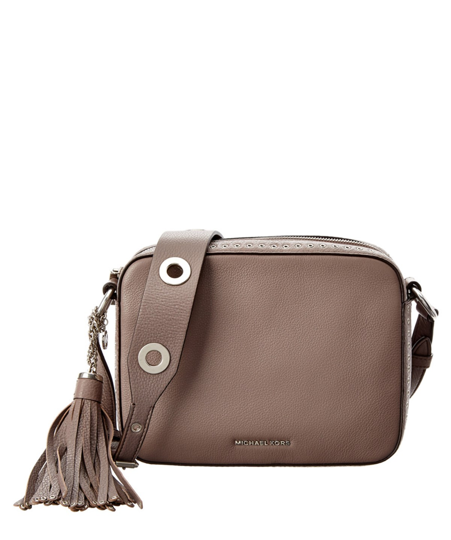 bcd23a5a28ca Michael Michael Kors Brooklyn Large Leather Camera Bag  In Mushroom ...