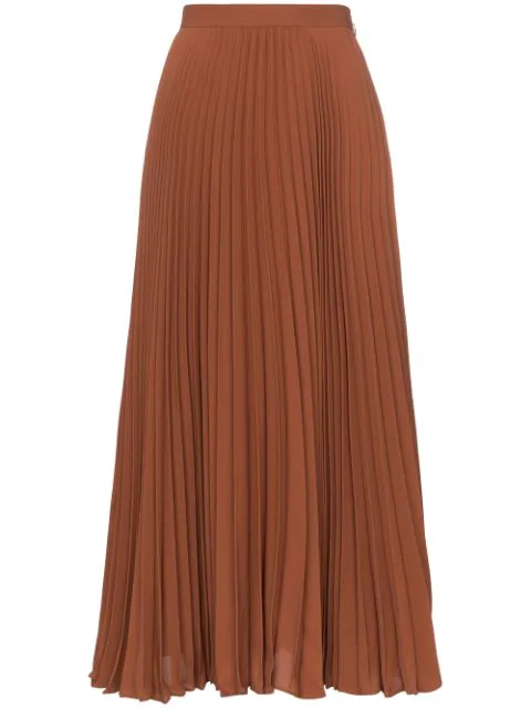 Valentino High-waisted Pleated Silk Midi Skirt In Orange
