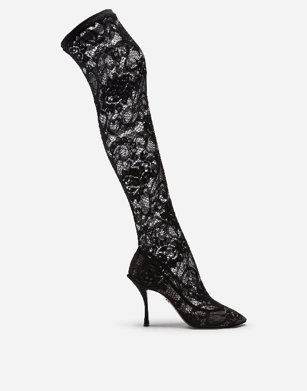 Dolce & Gabbana Under-the-knee Boots In Stretch Lace In Black