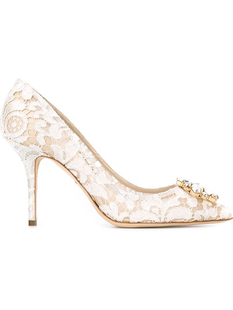 Dolce & Gabbana Belluci Crystal-Embellished Lace Pumps In 80005 Offwhite