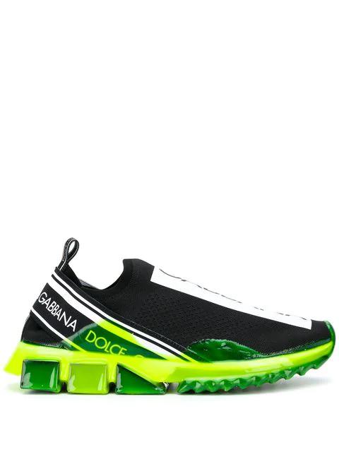 Dolce & Gabbana Logo-Print Stretch-Knit Sneakers In 8Q203 Nero/Giallo Fluo