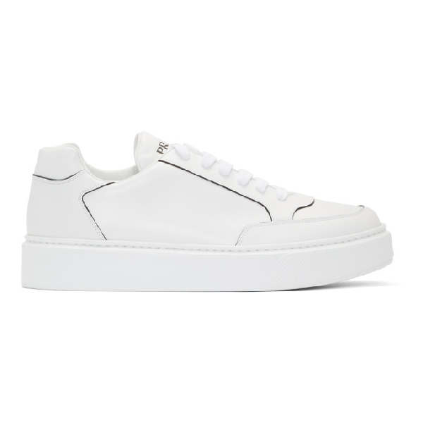 Prada Street Eighty Smooth Leather Sneakers In F0009 Bianc