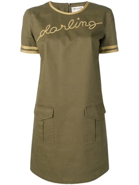 Saint Laurent Darling Mini Dress In Green