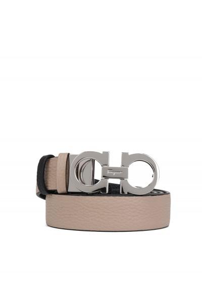 Salvatore Ferragamo Belt In Brown/beige