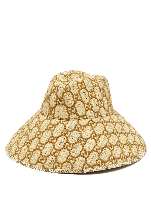 Gucci Snakeskin-Trimmed Gg-Embroidered Raffia Hat In Brown