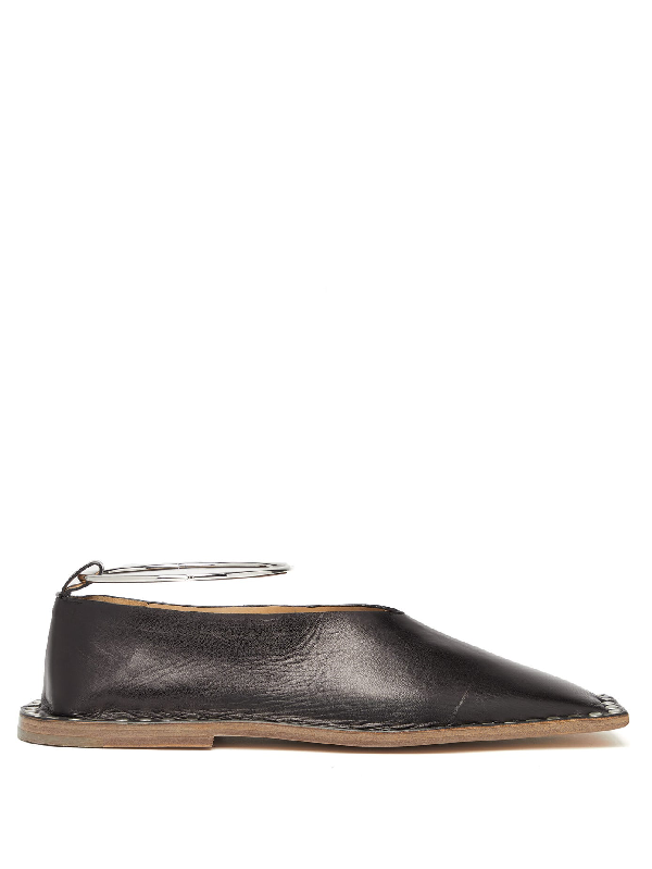 Jil Sander Studded Square-toe Leather Ballet Flats In Black