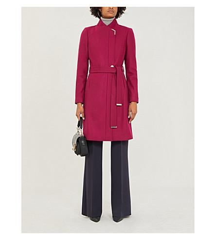 Ted Baker Metallic-Trim Wool-Blend Coat In Deep-Pink