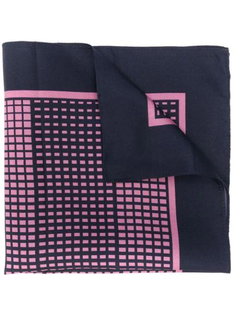Ermenegildo Zegna Men's Grid Print Silk Pocket Square In Blue
