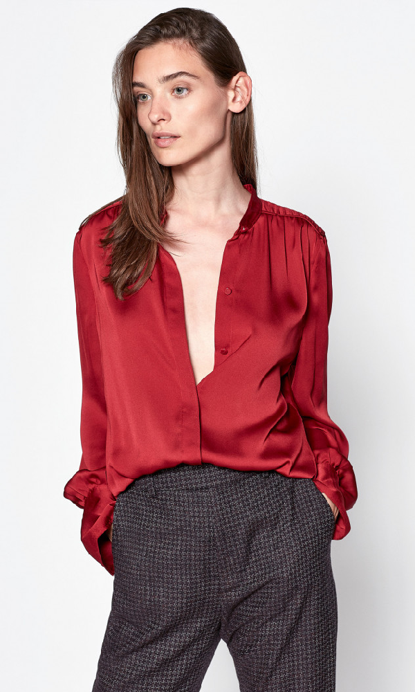 Equipment Garion Patched Shoulder Blouse In Rio Red