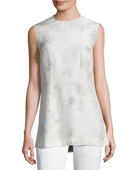 Calvin Klein Collection Flower-Print Silk Shell Top, Gray