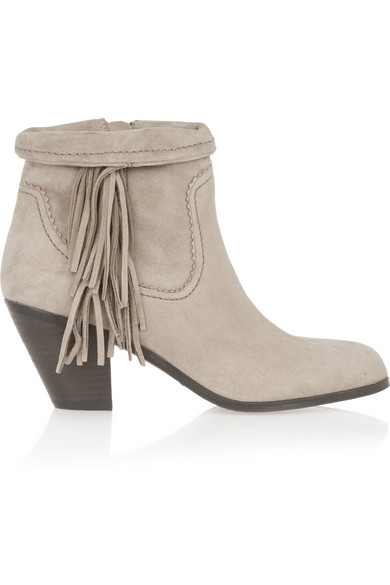 Sam Edelman Louie Fringed Suede Ankle Boots In Winter Sky