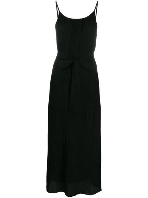 Theory Pleated Tie-Waist Tank Dress In Black