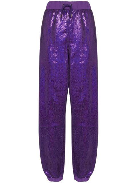 Ashish Sequin-embellished Track Pants In Purple