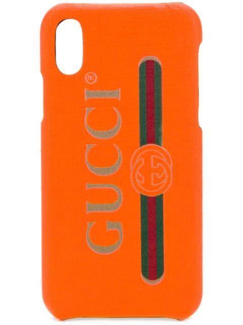 Gucci Logo Print Iphone X Case In Orange