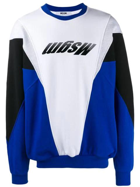 Msgm Colour Block Logo Sweatshirt In Blue