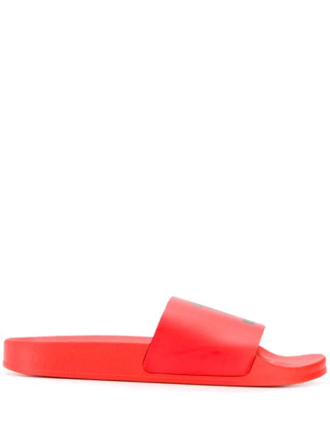 Off-White Double Arrow Graphic Slide Sandals In 2010 Red