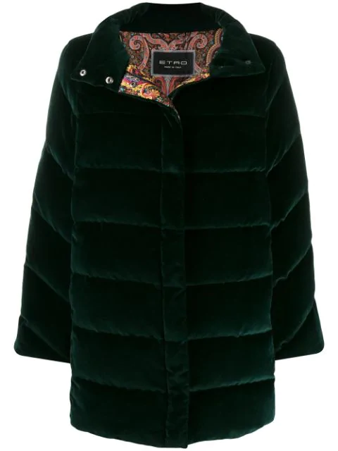 Etro Single-breasted Coat In Green