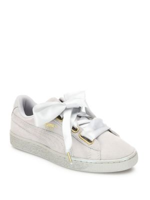 d1756ec4470 White Basket Heart Patent Leather Sneakers in Gray Violet Gray