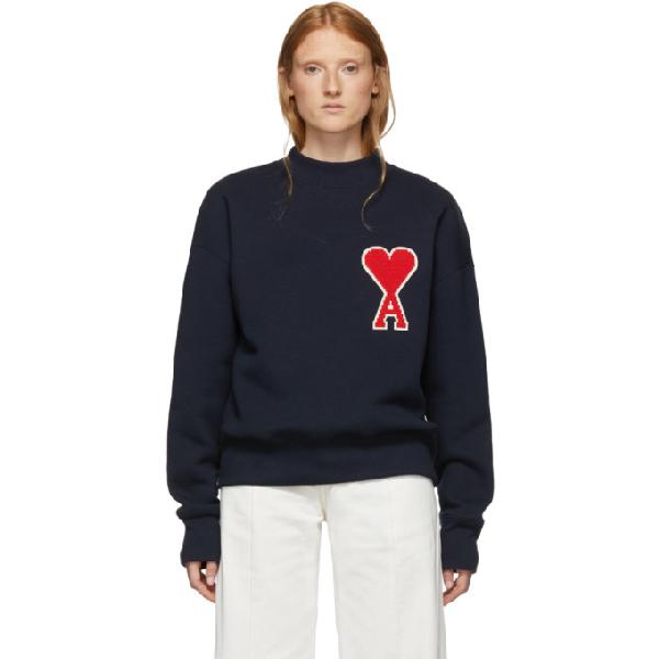 Ami Alexandre Mattiussi Navy Big Ami De Coeur Patch Sweatshirt In 410 Marine