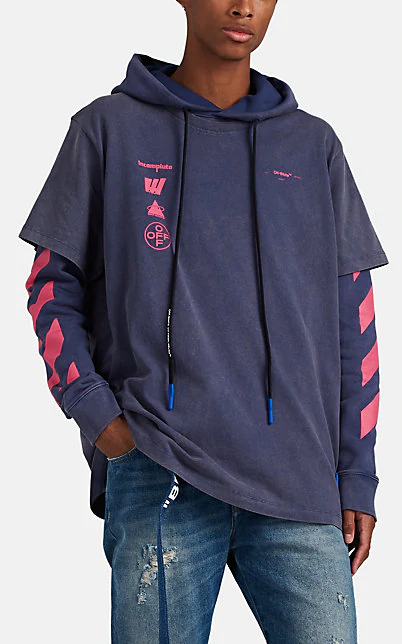 Off-White Mariana De Silva Printed Cotton-Jersey Hoody In Blue