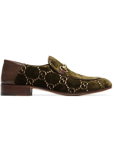 Gucci Horsebit Collapsible-Heel Leather-Trimmed Embroidered Velvet Loafers In Green