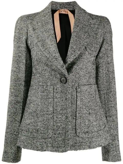 N°21 Textured Blazer Jacket In Black
