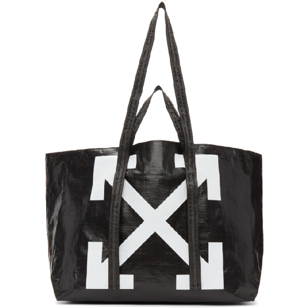 Off-white Commercial Printed Textured-shell Tote In Black/white