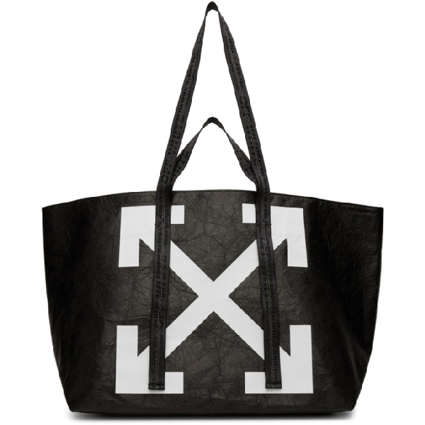 Off-white Commercial Printed Textured-shell Tote In Black